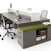 Dark wood 4 person workstation with comfy chairs