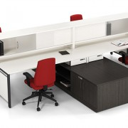 White workstation with red ergonomic chairs