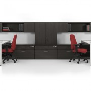 Solid wood workstation with seating for 2