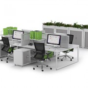 Modern workstation setup with touches of lime green