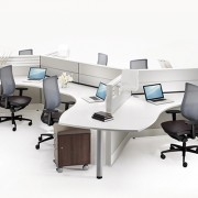 6 person workstation with privacy dividers