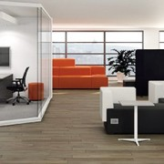 A professional office space utilizing the latest in furniture design